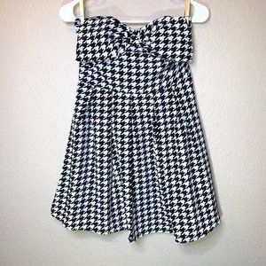 NWT Forever 21 Houndstooth Strapless Bow Dress
